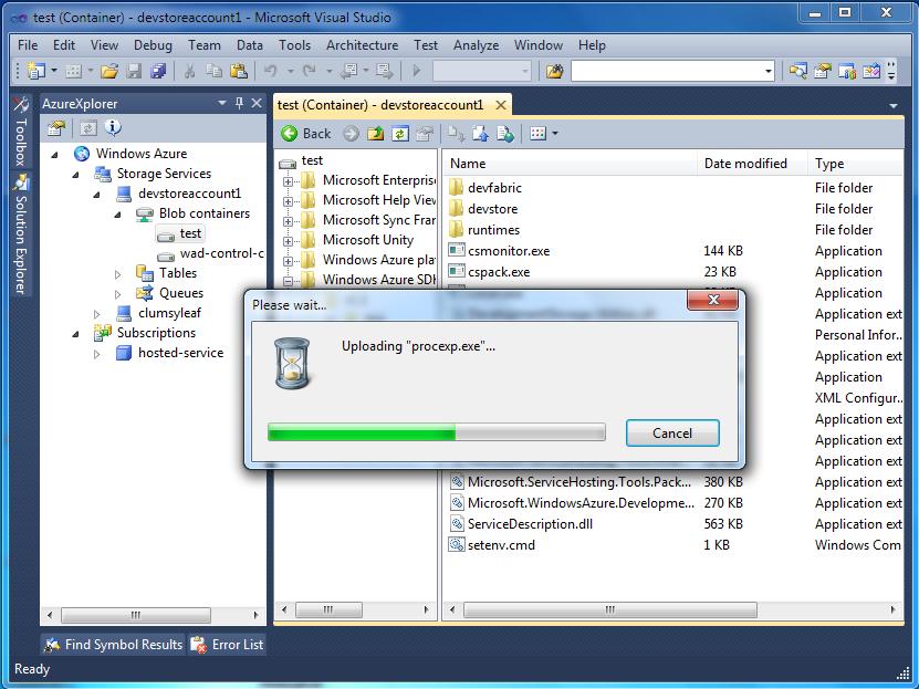 AzureXplorer for Microsoft Visual Studio :: ClumsyLeaf Software